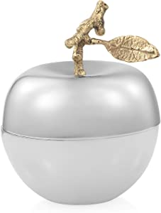 Shop LC Delivering Joy Apple Filled with Vanilla Wax Therapy Scented Candle Holder Metallic Silver Home Decor