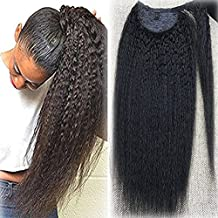 Fshine 26 inch Natural Black Human Hair Ponytail Extension for Long Hair Kinky Straight One Piece 100g