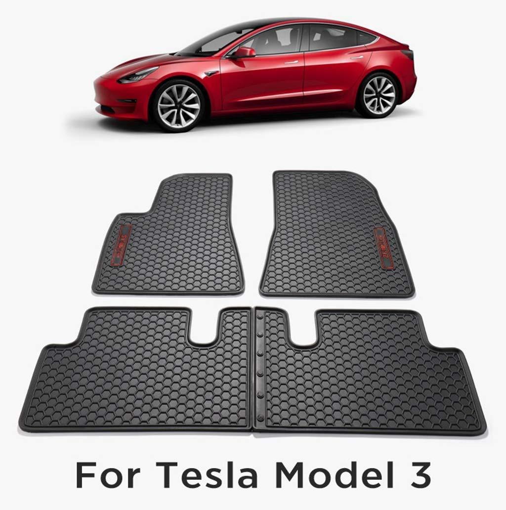 Hiyougen Floor Mats Set for Tesla Model 3, 3D Liners Complete Set Car Carpet Pad Mat All-Weather Waterproof Non Slip Floor Mats by Hiyougen