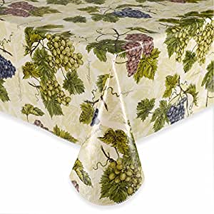 Amazon Com Grapevines Flannel Backed Vinyl Tablecloth