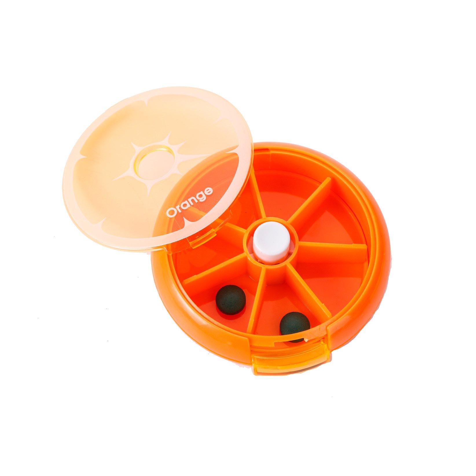 Seven Days Rotate Circle Granule Medicine Storage Box Portable Weekly Health Helper (orange) by Heave
