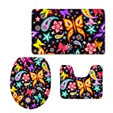 HUGS IDEA Vintage Bath Rug Set Butterfly Paisley Design Bathroom Rug Contour with Lid Toilet Cover (3 Piece)