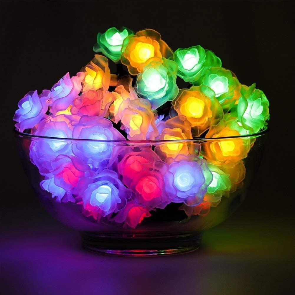Luz de Navidad LED multicolor flor de Rose cubierta Luces de la secuencia accionada solar for la fiesta de cumpleaños de la boda del hogar de la Navidad Decoración de la mesa Regalo Navidad Jardín Ter