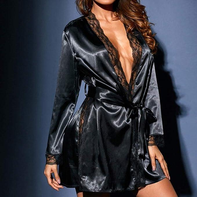 FRAUIT Lenceria Erotica de Mujer, Vestido de baño Largo de Seda de Kimono de Las Mujeres de la Bata de algodón Atractiva Atractiva de Las Mujeres: ...