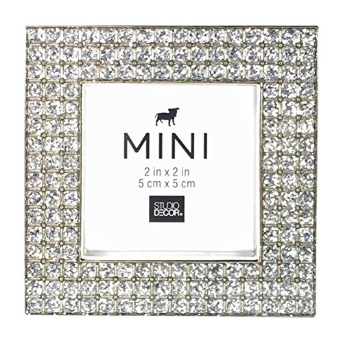 - Studio Decor Bejeweled Blinged Out Mini Picture Frame, Silver Tone Metal with Clear Rhinestones, 2 X 2