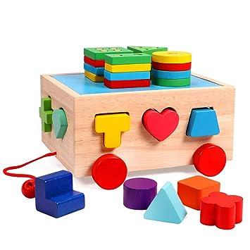Para Pila Juguetes Niños Camionero Tipo De Juguete Educativos Lewo Reconocimiento Madera Bus Forma Geométricos Color Clásico Preescolar dBerCox