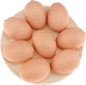 Gresorth 8pcs Artificial Lifelike Red Chicken Eggs Decoration Fake Food Toy Home Party Kitchen Table Show
