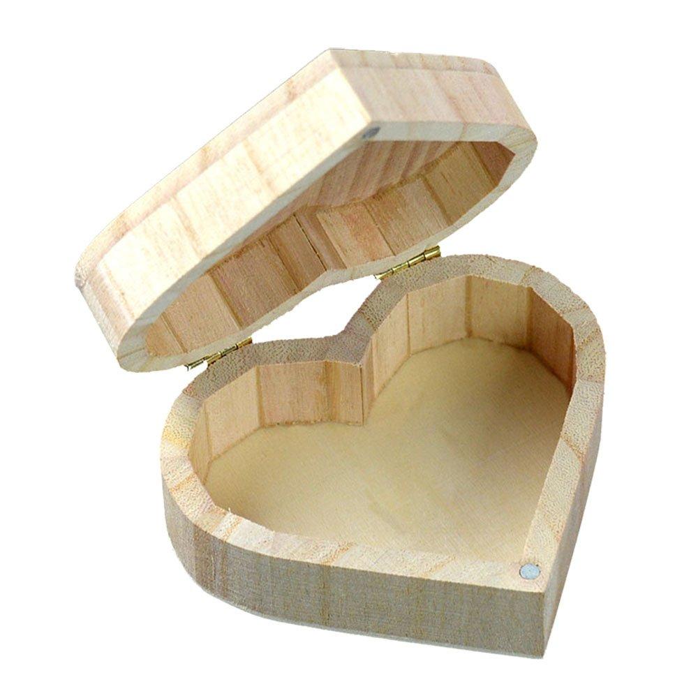 Szaerfa Juguetes Joyería de madera Artesanía de madera Chic Art DIY Base de lodo Love Heart Shape