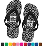 Monogrammed Damask Flip Flops - Small (Personalized)