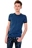 Mens Indie Retro 60's Blue & Black Striped Short Sleeve T Shirt