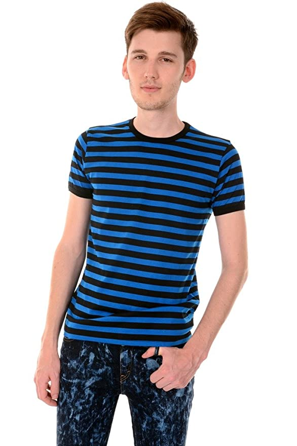 1930s Style Mens Shirts  Blue & Black Striped Short Sleeve T Shirt $22.95 AT vintagedancer.com