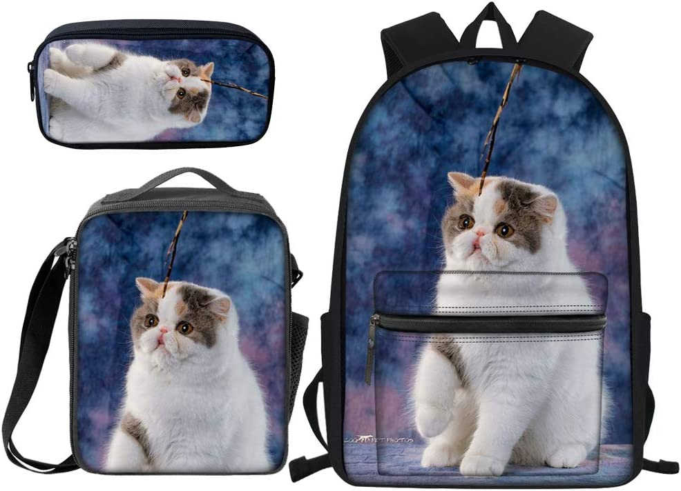 MONTOJ Cute Cat Painting Pattern Polyester Travel Backpack Laptop Backpack
