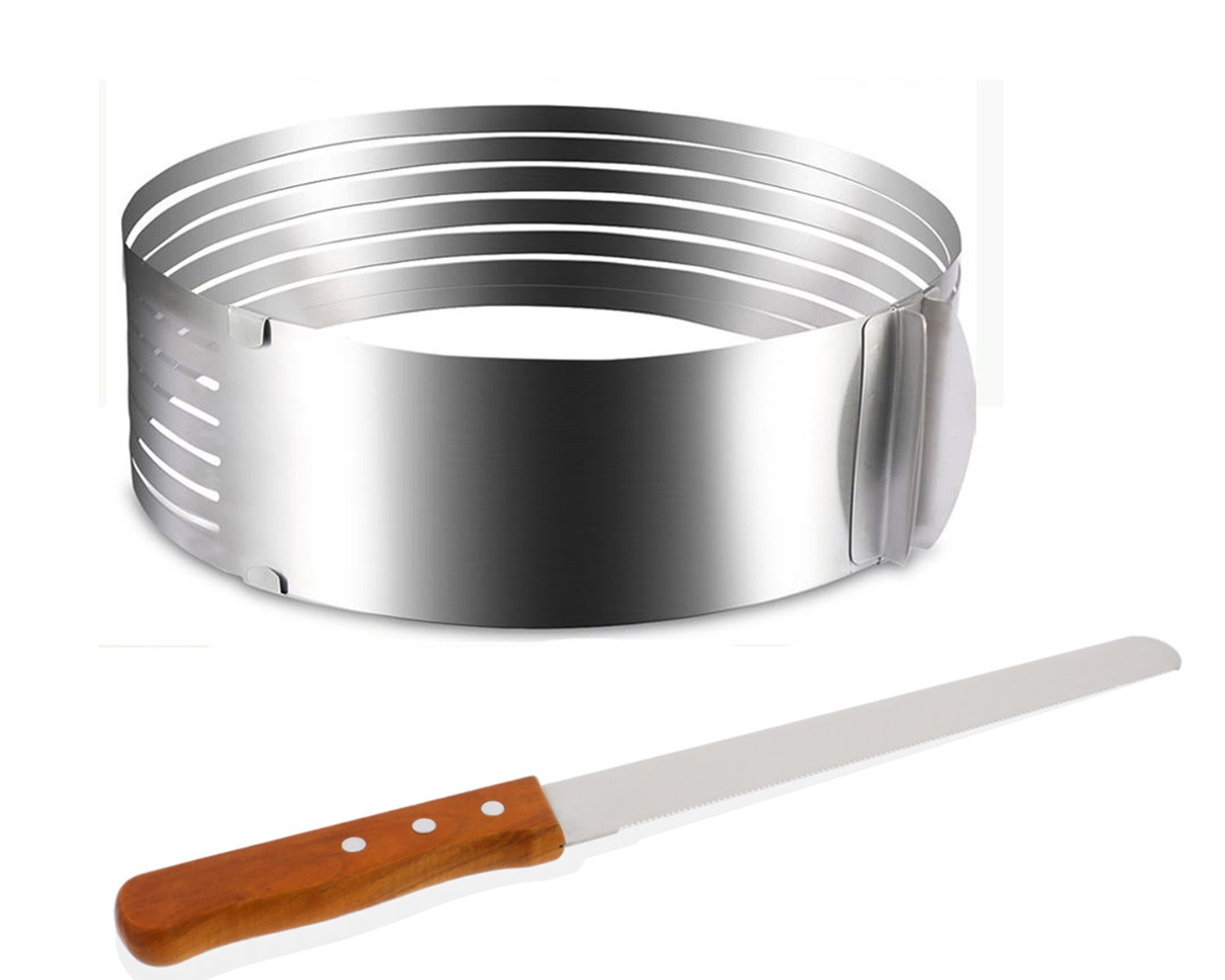 Cheftor Professional Adjustable Stainless Steel Layer Cake Expandable Mould Slicer Ring Form with Cake Knife