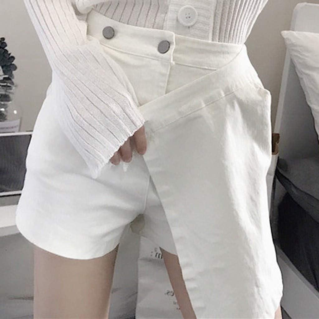 CofeeMo Fashion Womens Summer Leisure Shorts Culottes High Waist Pure Color Wid Leg Shorts