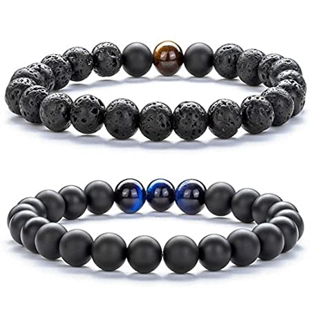 HOMEYU® Unisex 8mm Tiger Eye Gemstone Lava Rock Beads Combo ...