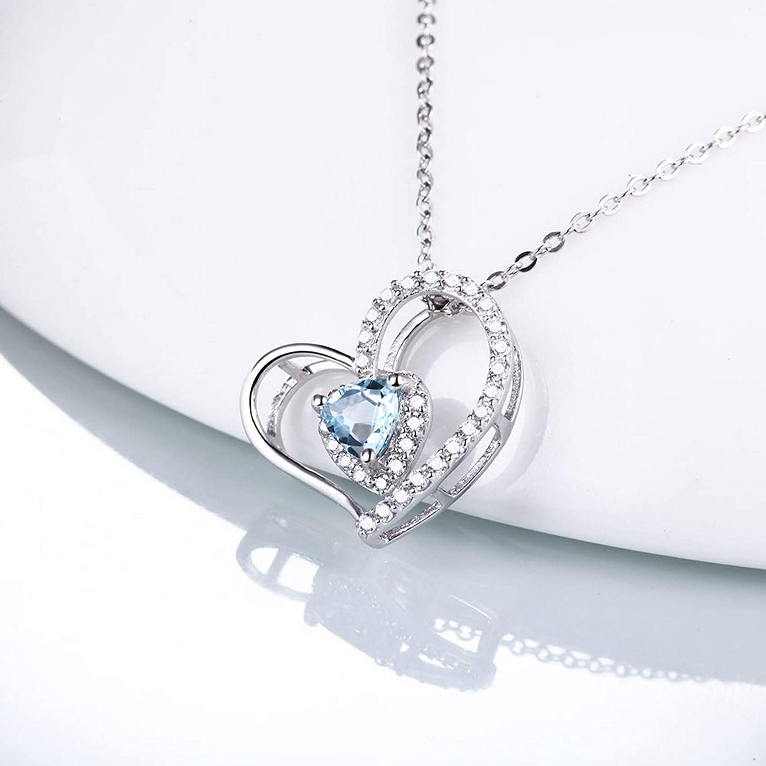Pendants Necklaces by CS-DB Heart Love Blue Topaz Silver Womens Jewelry