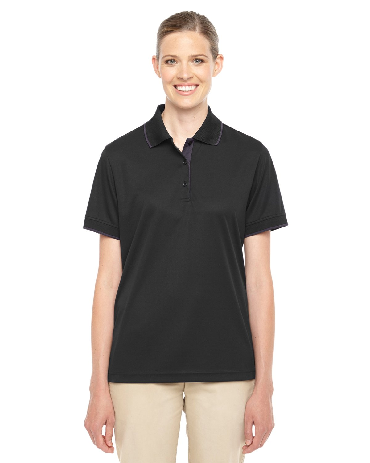 Ash City Core 365 Ladies Motive Performance Pique Polo with Tipped Collar (X-Small, Black/Carbon)