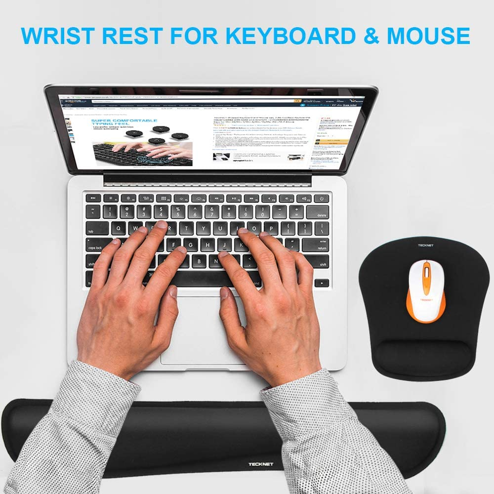 Black Memory Foam Set for Computer//Laptop//Mac TeckNet Keyboard Wrist Rest and Mouse Pad with Wrist Support Lightweight for Easy Typing /& Pain Relief Ergonomic Mousepad