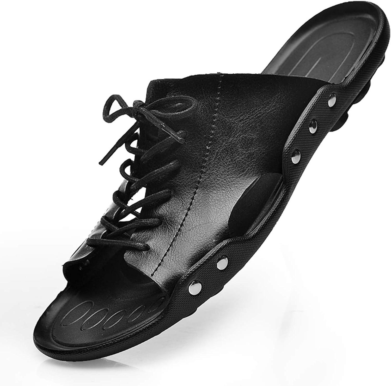 Summer Tide Mens Slippers British Men Sandals Genuine Cow Leather Lazy Beach Sandals Flip Flops Men Summer Shoes Brown