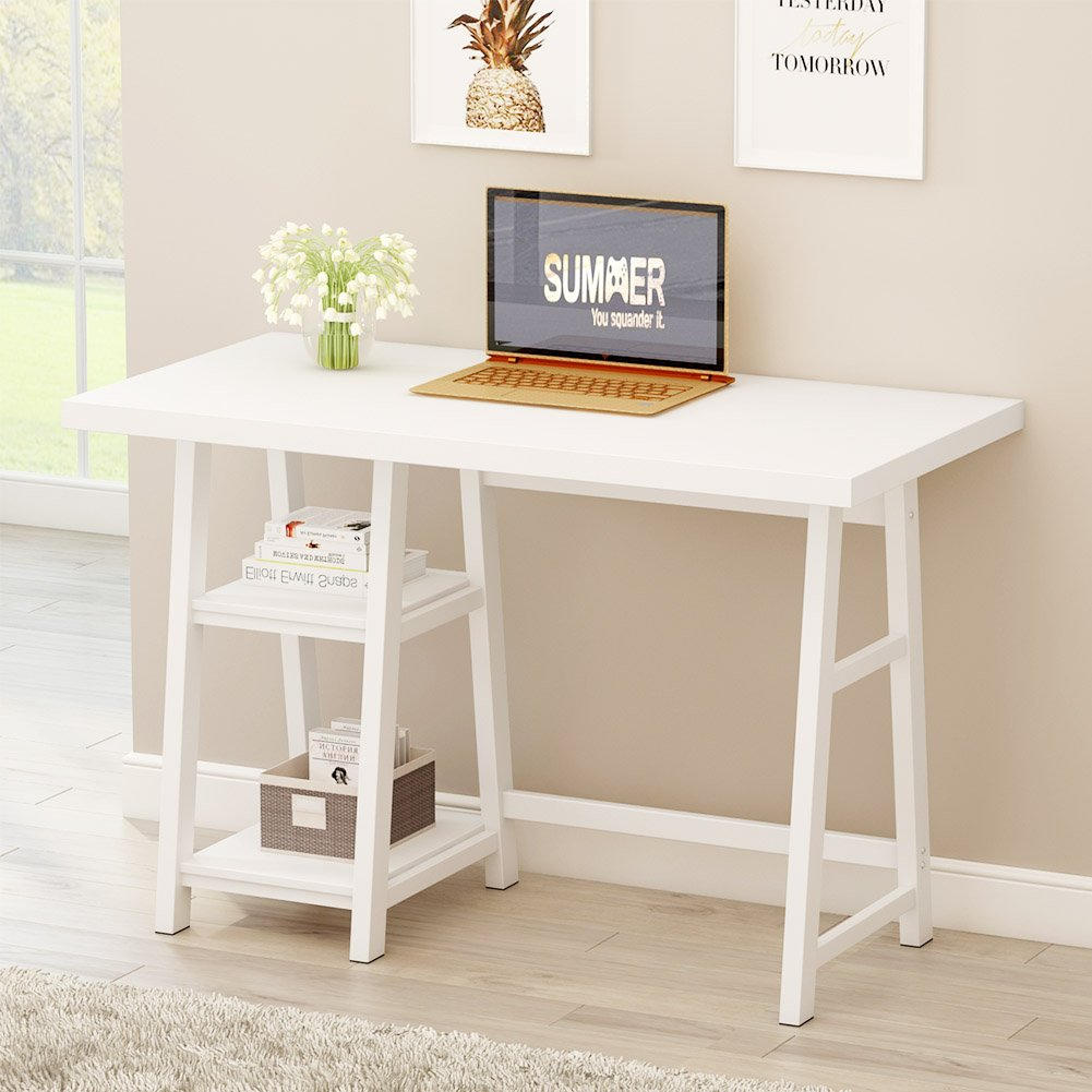 Tribesigns Modern Writing Desk with Reversible Storage Shelves, 47 inch Computer Desk PC Laptop Study Table Home Office Desk for Small Space by Tribesigns