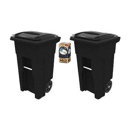 Amazon Com Toter 32 Gallon 2 Wheel Trash Can 2 Cart Blackstone