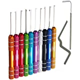 Loboo Idea 12-Pieces Multicolour Dimple Kaba Lock Pick Set Tools, Including 10 Pieces Dimple Kaba Lock Pick Hook and 2…
