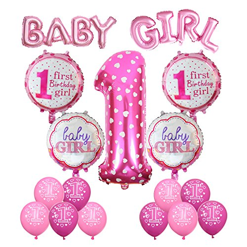 Cocodeko 1st Birthday Decoration, Inflatable Helium Foil Balloons Baby Girls Birthday Party Air Balloons Set Supplies for Baby Shower Photo Props Pink Number First Birthday Decorations - Girl for $<!--$15.99-->
