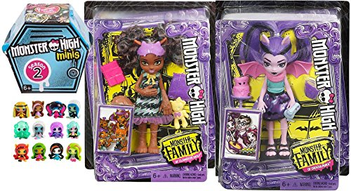 Monster High Figures Scary Cute 2-Pack Monster High Monster Family of Clawdeen Wolf Pawla Wolf 5.5-Inch Doll & Draculaura Fangelica + Blind Box Mystery Minis Season 2