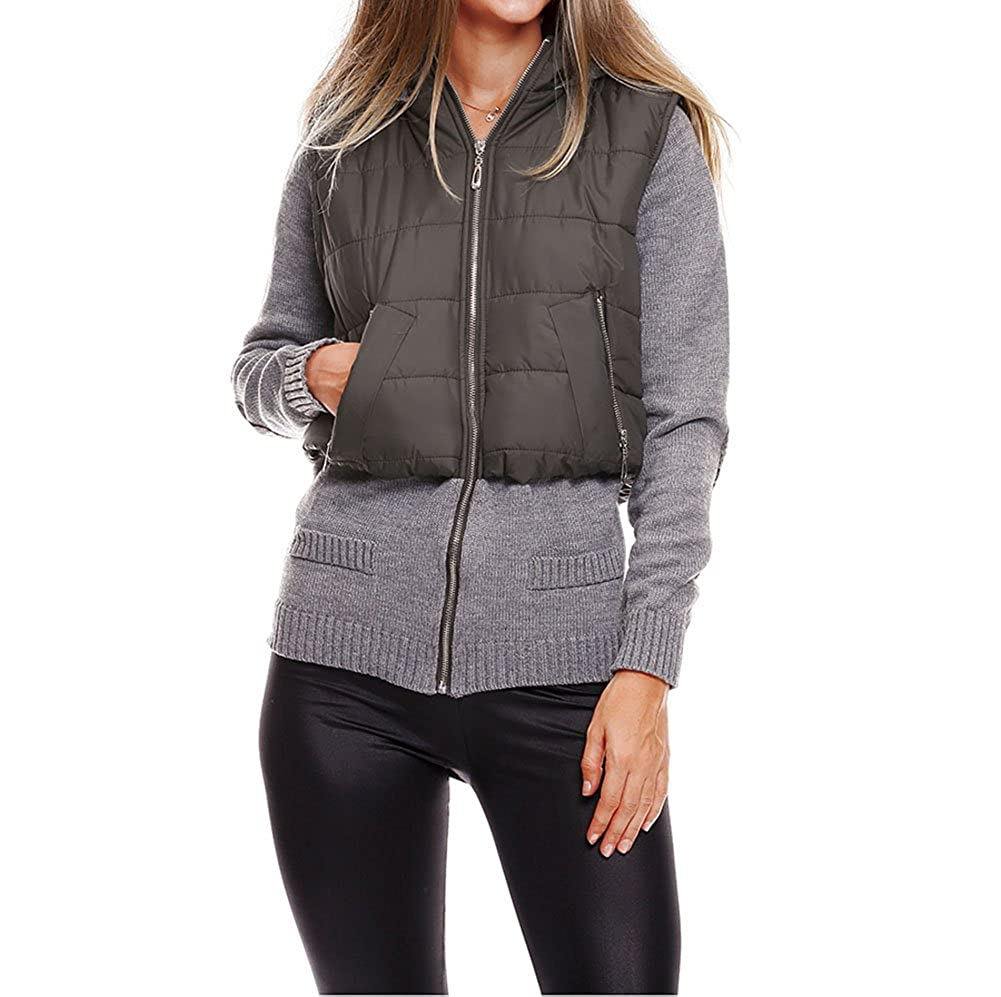 Womens Stylish Knit Spliced Hooded Quilted Jacket