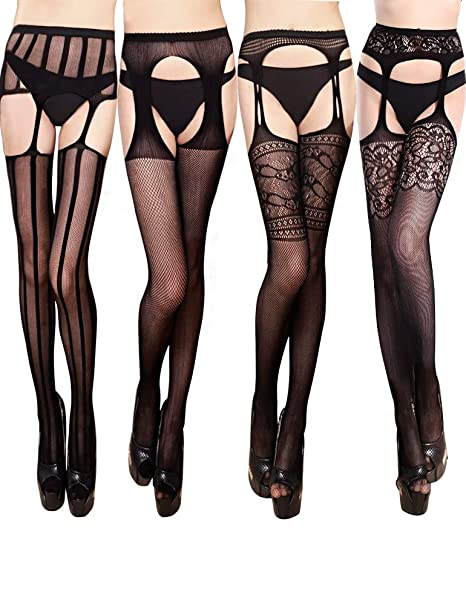 7b56b133d2ea1 VERO MONTE 4 Pairs Suspender Tights 4 Women Thigh Highs Stockings  Fishnet(BLACK)