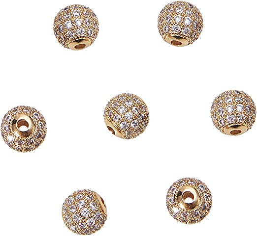 Zircon Gemstone Pave Heart Round Charm Bracelet Spacer Beads Findings 8MM