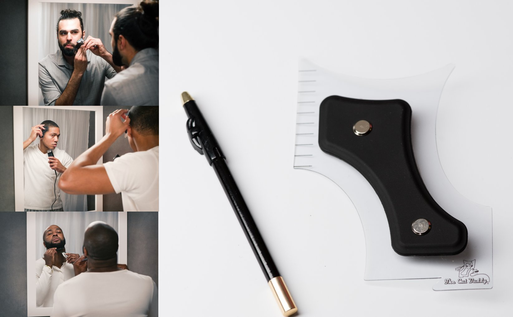 The Cut Buddy - Shark Tank Winner - Hair Beard Shaping Tool Shaping Tool - Hairline Outliner, Beard Detailer, Sideburns, Mustache, Neckline, Goatee with Bonus Barber Pencil