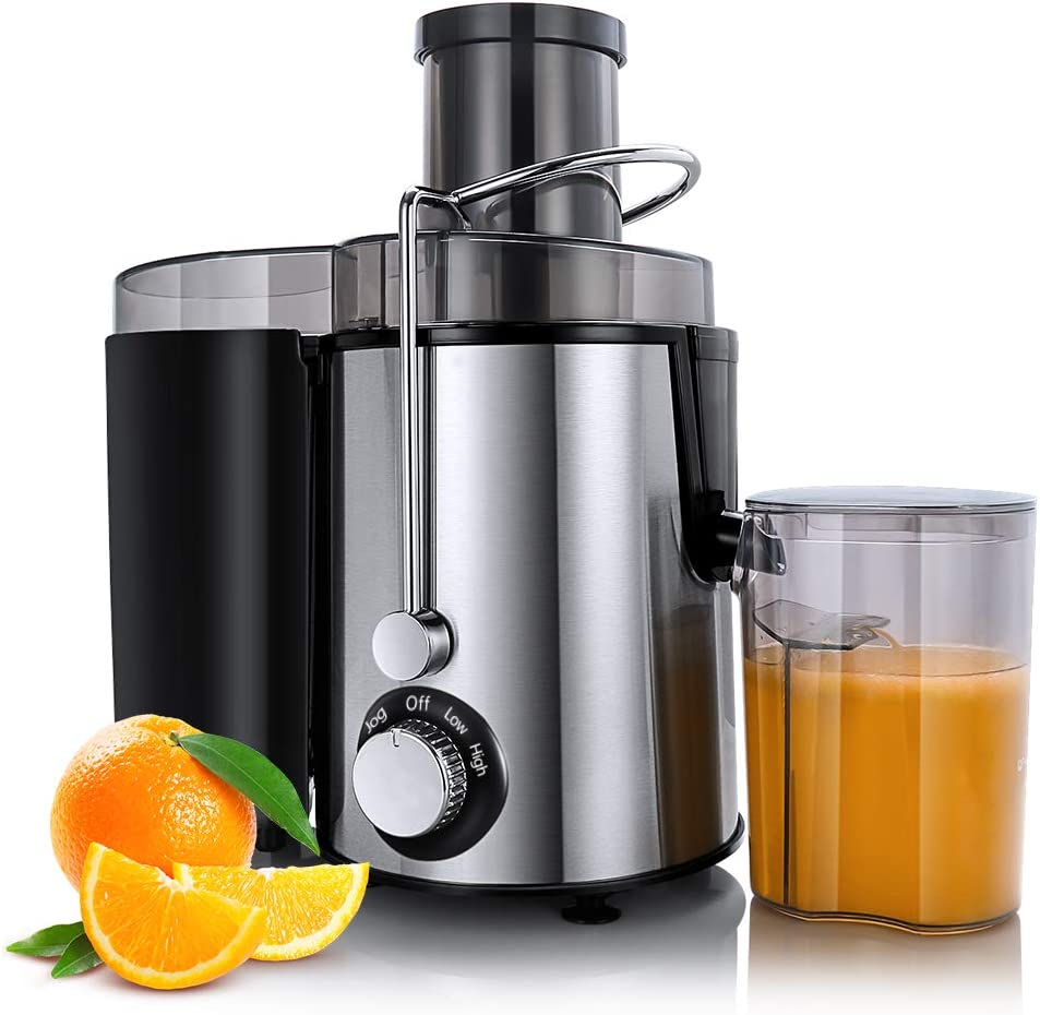 Centrifugal Juicer Machines, Juice Extractor for Whole Fruit and Vegetables, BPA-Free, Dual Speed and Overheat Overload Protection, Anti-drip and Detachable Stainless Steel Citrus Juicer, Included Brush