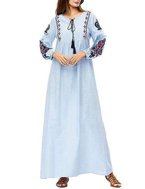 TAAMBAB Kaftan Musulmanes Batas Vestido De Las Mujeres Señoras Maxi Largo Vestido - Vendimia Vestidos para Islámico Turquía Dubai Casual: Amazon.es: Ropa y ...