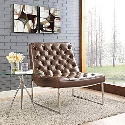Amazon.com: Modway Ibiza Upholstered Vinyl Lounge Chair in ...
