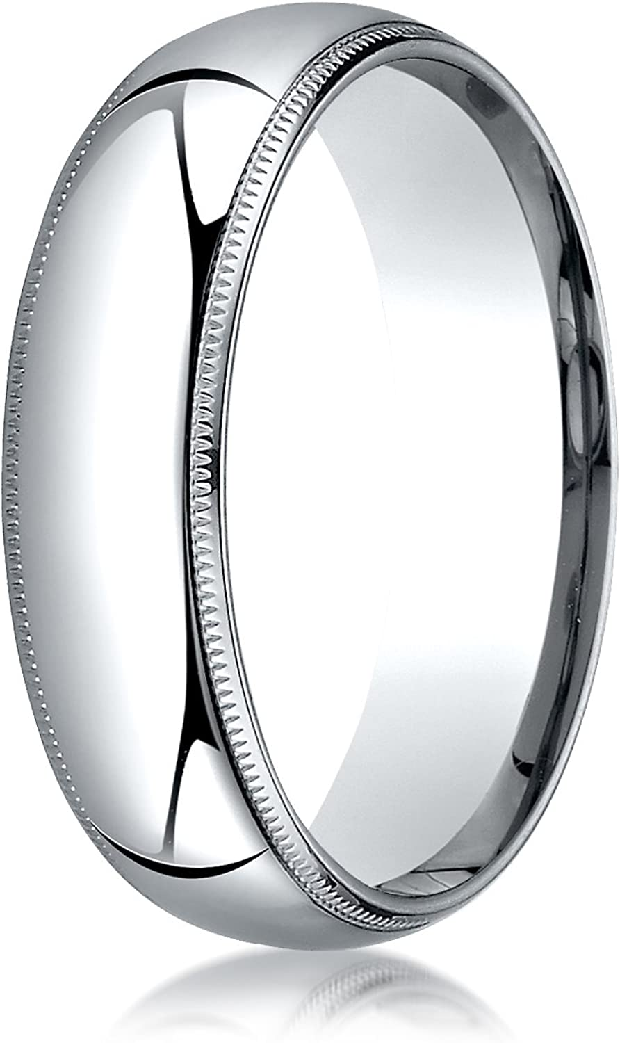 Men's 14K White Gold 6mm Slim Profile Comfort Fit with Milgrain Wedding Band Ring