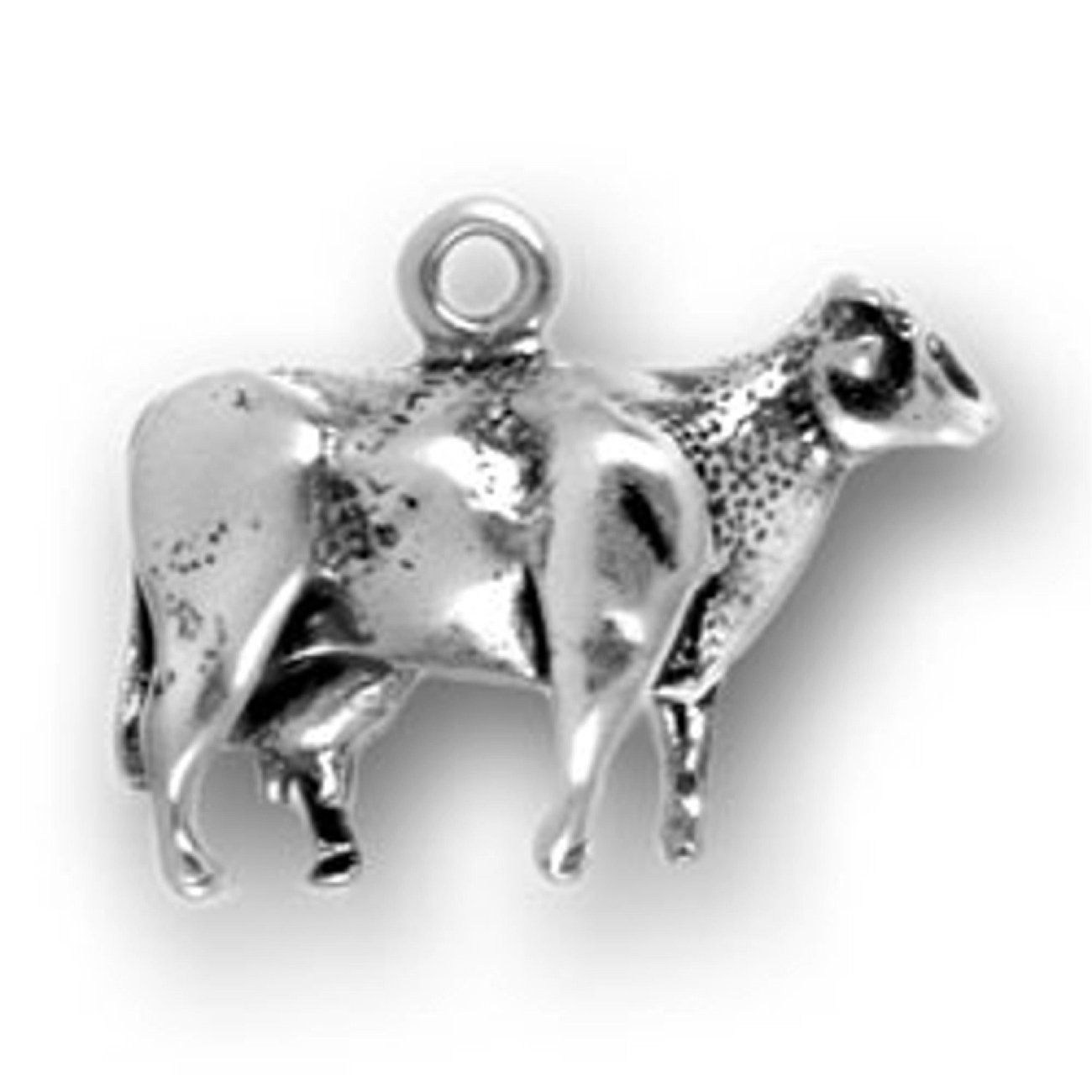 Sterling Silver Womens 1mm Box Chain 3D Detailed Cow Pendant Necklace