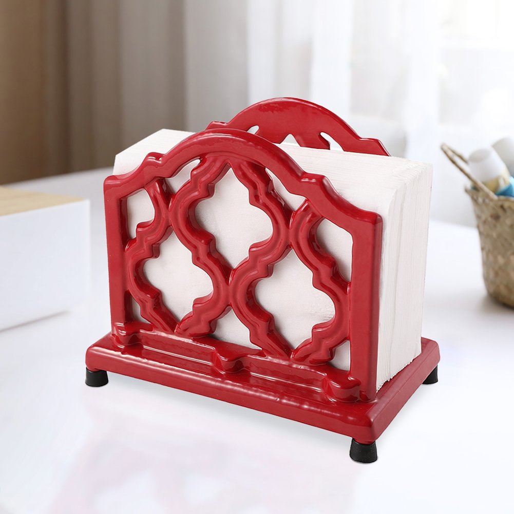 Vintage Metal Napkin Holder Red Cast Iron Napkin Holder Organizer for Kitchen Restaurant Home Decor by JOGREFUL
