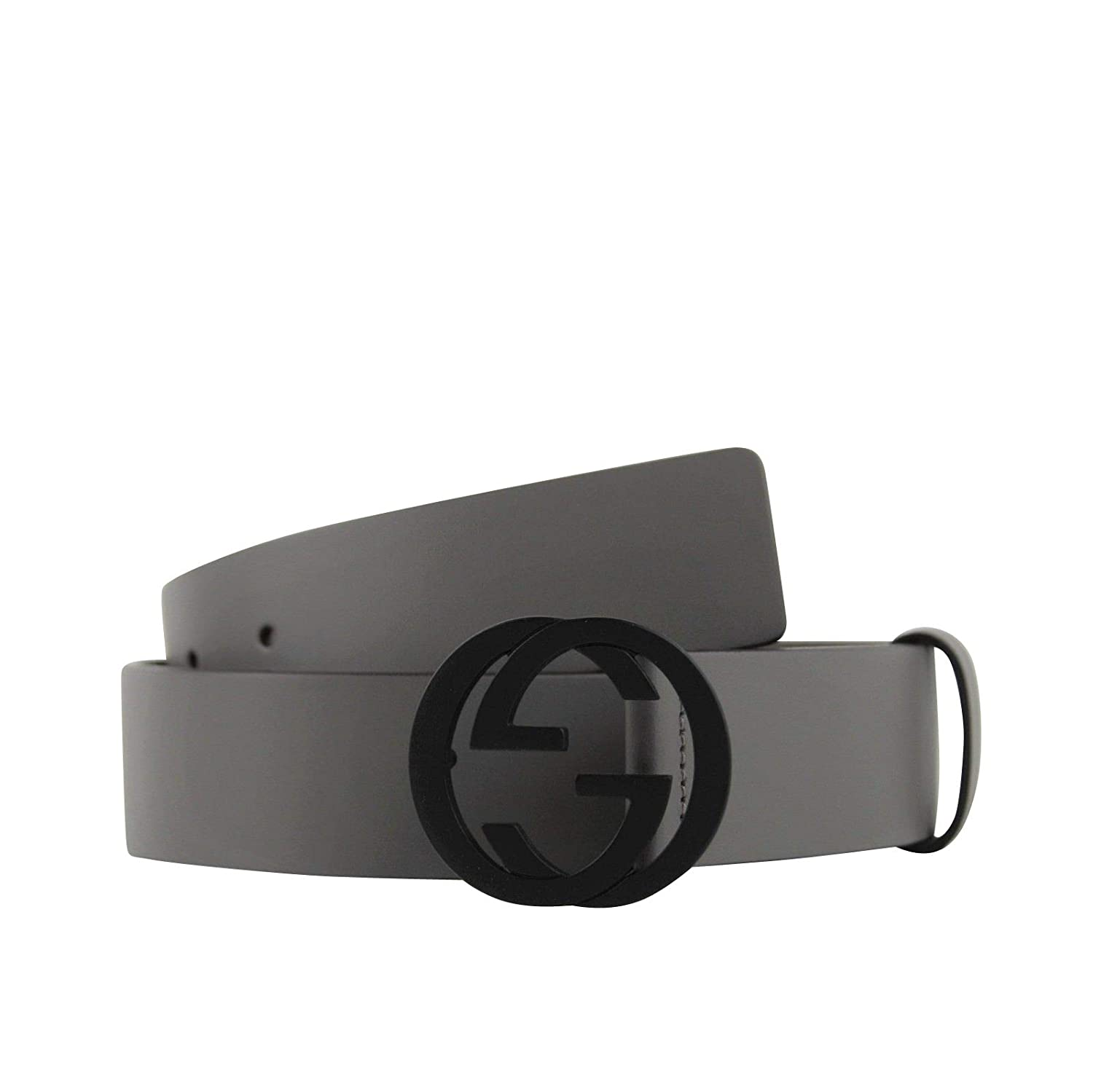 eafe0fcf Amazon.com: Gucci Men's Interlocking G Grey Leather Belt with Black ...