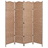 Product review for Freestanding Beige Wood Woven Textured 4 Panel Partition Room Divider Folding Privacy Screen - MyGift