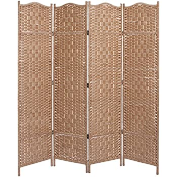 Amazoncom MyGift Woven Rattan 4 Panel Screen Southwest Folding