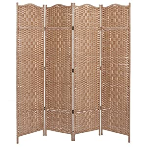 Freestanding Beige Wood Woven Textured 4 Panel Partition Room Divider Folding Privacy Screen - MyGift