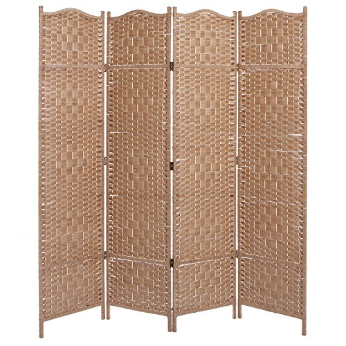 Freestanding Beige Wood Woven Textured 4 Panel Partition