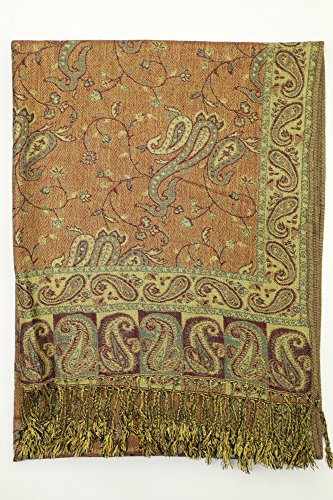 Achillea Soft Silky Reversible Paisley Pashmina Shawl Wrap Scarf w/Fringes 80'' x 28'' (Sage Green) by Achillea (Image #5)