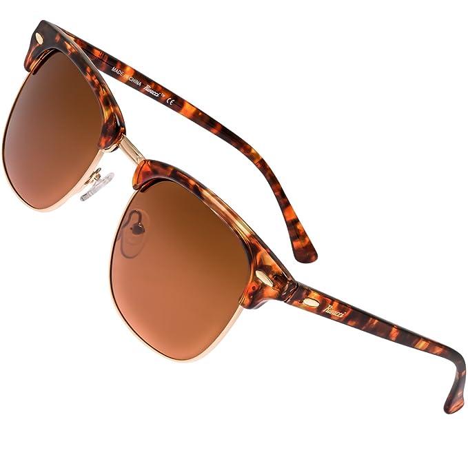 Rivacci Gafas de Sol de Moda Polarizadas estilo Clubmaster - Outlet Sunglasses - Marca Retro / Vintage Baratas para Mujer y Hombre – Deportivas Dorado ...