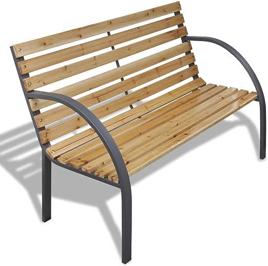 Luckyfu - Banco de jardín con láminas de madera y marco de hierro. Diseño cómodo y elegante. Banco de jardín banco exterior jardín banco de jardín: Amazon.es: Jardín