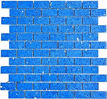 Mosaik Fliese Quarz Komposit Kunststein Brick Artificial Blau Fur