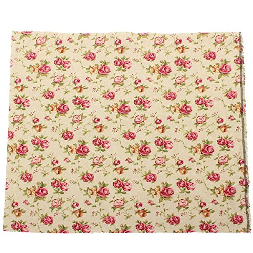 Arts, Crafts & Sewing - Cotton Rose Printed Fabric Handcraft Diy Sewing Cloth - Vintage Rose Fabric Flowers Pink White Cotton Fabrics Sewing Roses Upholstery Cloth - For - 1PCs