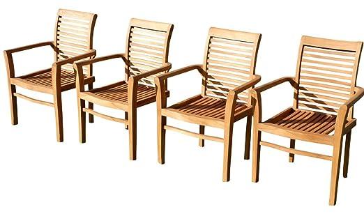 4stk Real teca diseño jardín Sillón Silla de jardín madera ...