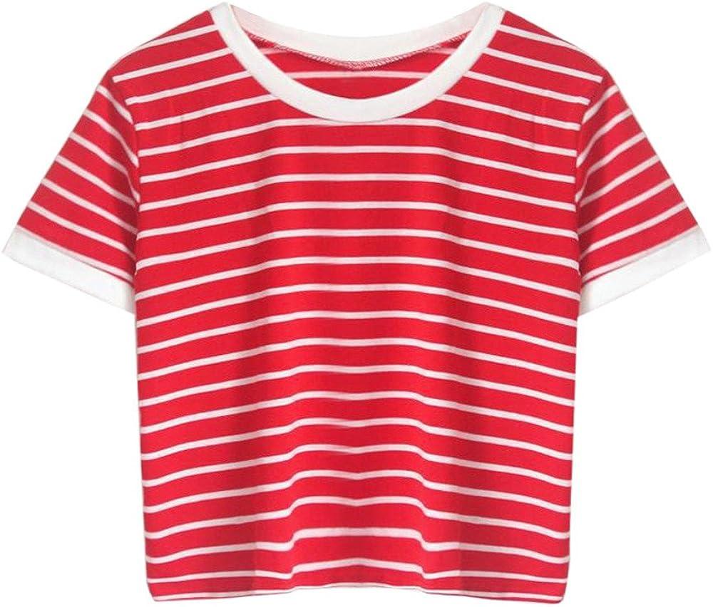 Ropa Camisetas Mujer, Camisas Mujer Verano Elegantes Striped Casual Tallas Grandes Camisetas Mujer Manga Corta Camiseta Blusas Tops para Mujer Fiesta en la Playa (S): Amazon.es: Ropa y accesorios